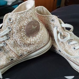 Converse high top-cream and gold glitter snowflake
